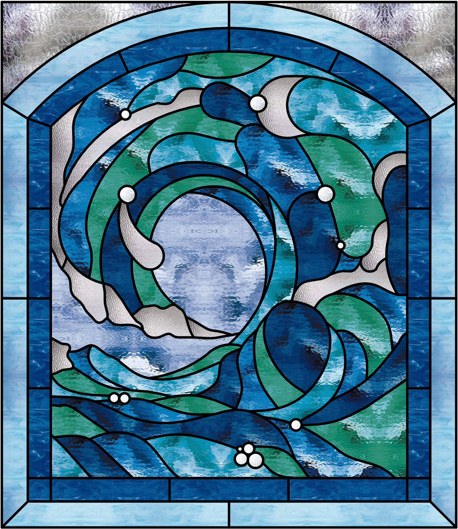 Beautiful Cresting Ocean Wave 2 Stained Glass Window