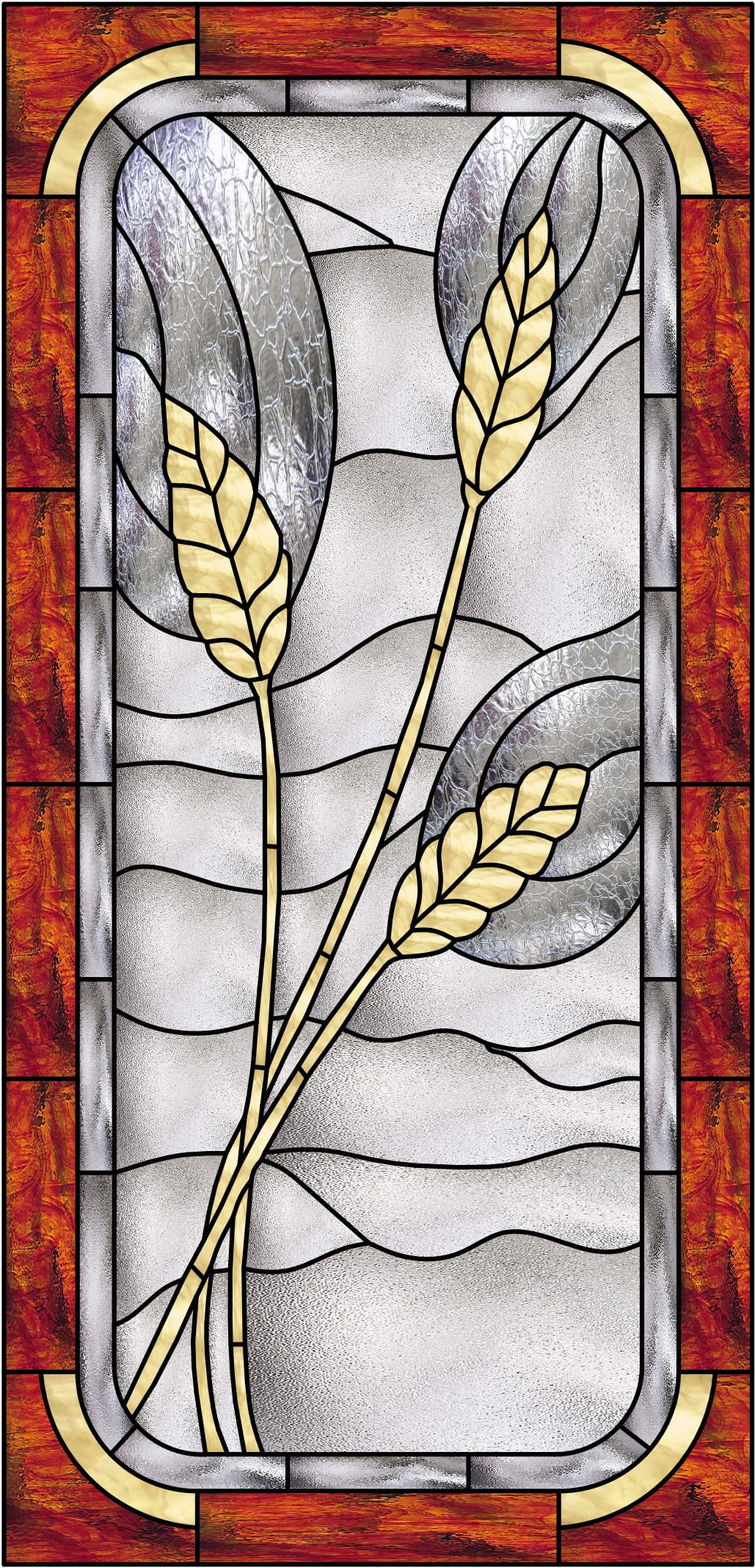 Stained Glass Wheat Window Panel (Also available insulated and pre ...